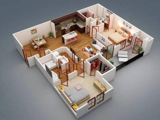 Планировка одноэтажного дома 10 на 10 (51 фото): проекты комнат со схемой для 1-этажного строения площадью 10х10 кв. м