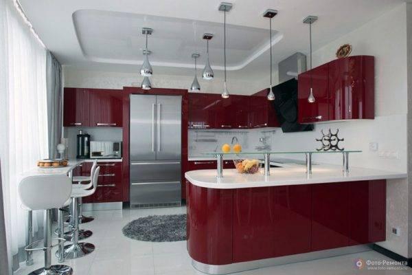 Самые яркие идеи дизайна кухни в бордовых тонах (+92 фото интерьеров)