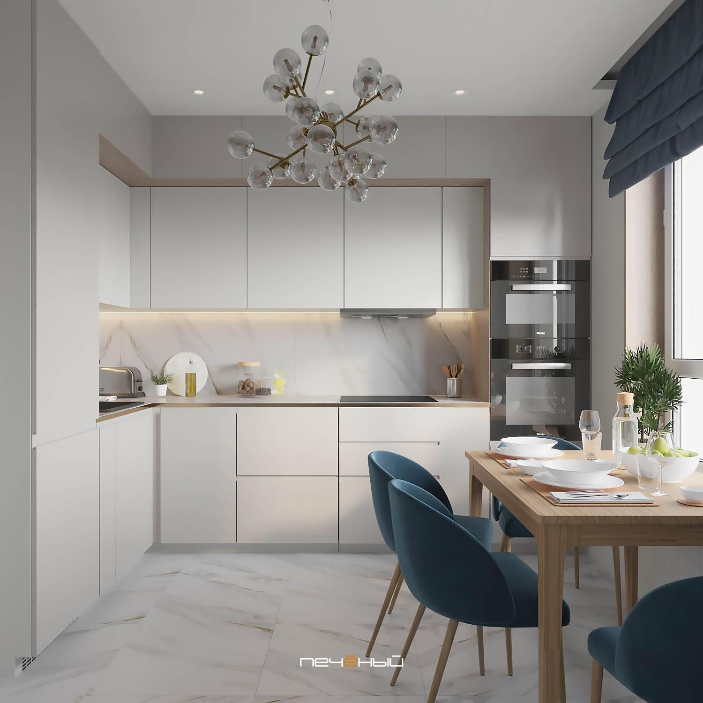 Белая кухня с черной столешницей: идеи дизайна, 60 фото гарнитуров, фартук