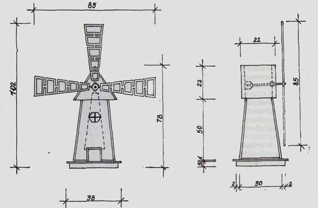 Декоративная мельница для сада своими руками чертежи + фото