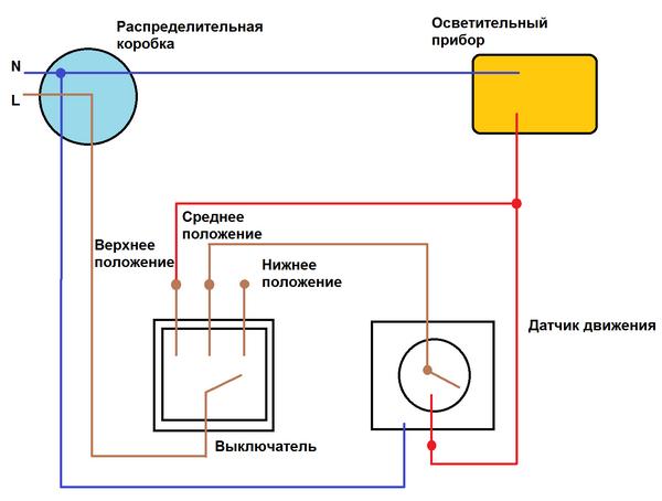 Схема подключения светильника с датчиком движения