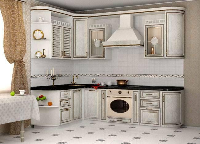 Интерьер кухни с патиной: фасады «под старину» в разных цветах и стилях