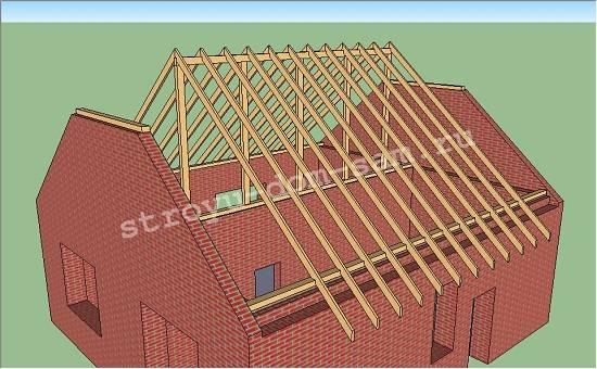 Стропильная система полувальмовой крыши: элементы, монтаж по шагам