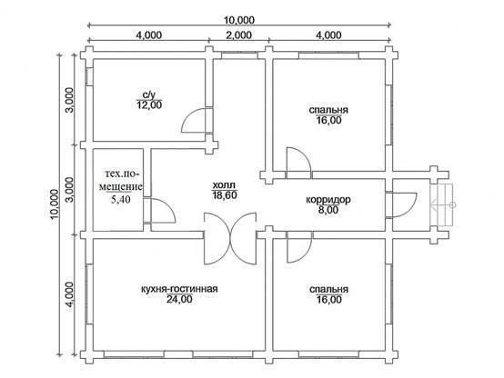 Одноэтажный дом 10×10: планировка комнат, варианты проектов