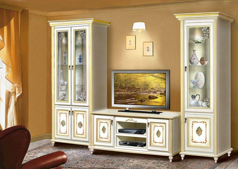 Шкаф в гостиную (50 фото): дизайн современных подвесных моделей в зал, варианты для одежды с фотопечатью и красивые идеи в интерьере
