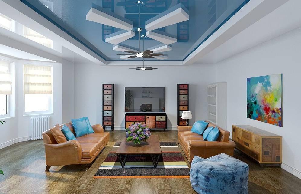 Потолок двухуровневый: гипсокартон и натяжной, 9 фото