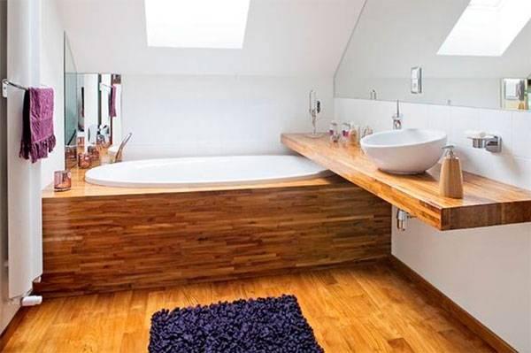 Плитка под дерево в ванной: 50+ фото ванной комнаты с плиткой под дерево