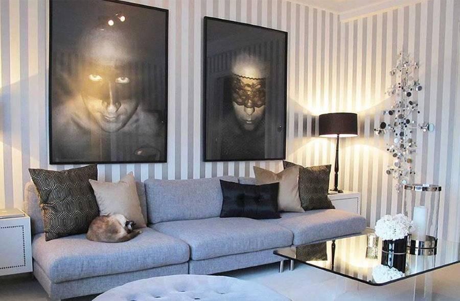 Как декорировать стену за диваном в гостиной