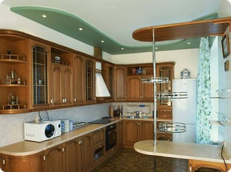Потолок на кухне из гипсокартона - лучшие варианты дизайна
