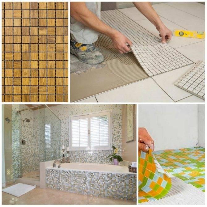 Как клеить мозаичную плитку на сетке — подготовка основания, выбор раствора