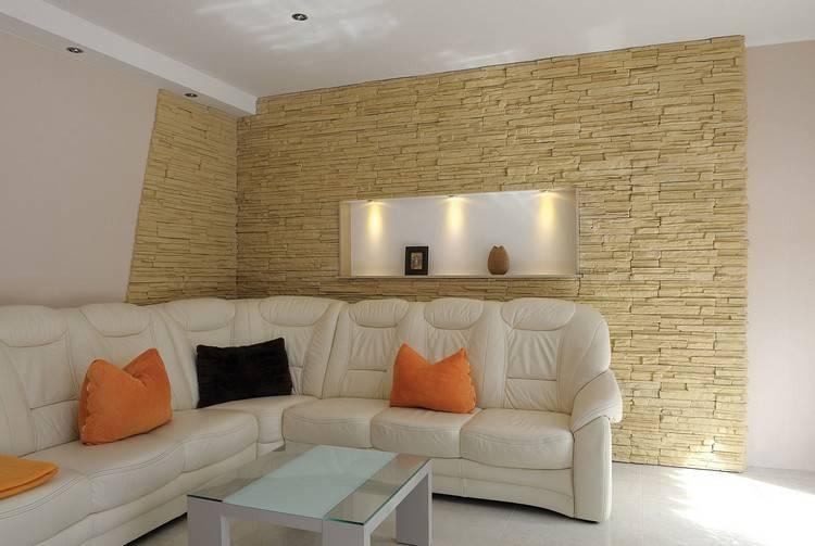 Рисунок декоративным камнем: фото и сочетание материалов на стенах