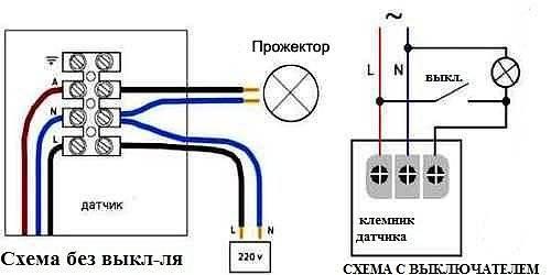 Cхема подключения датчика движения для освещения, настройка