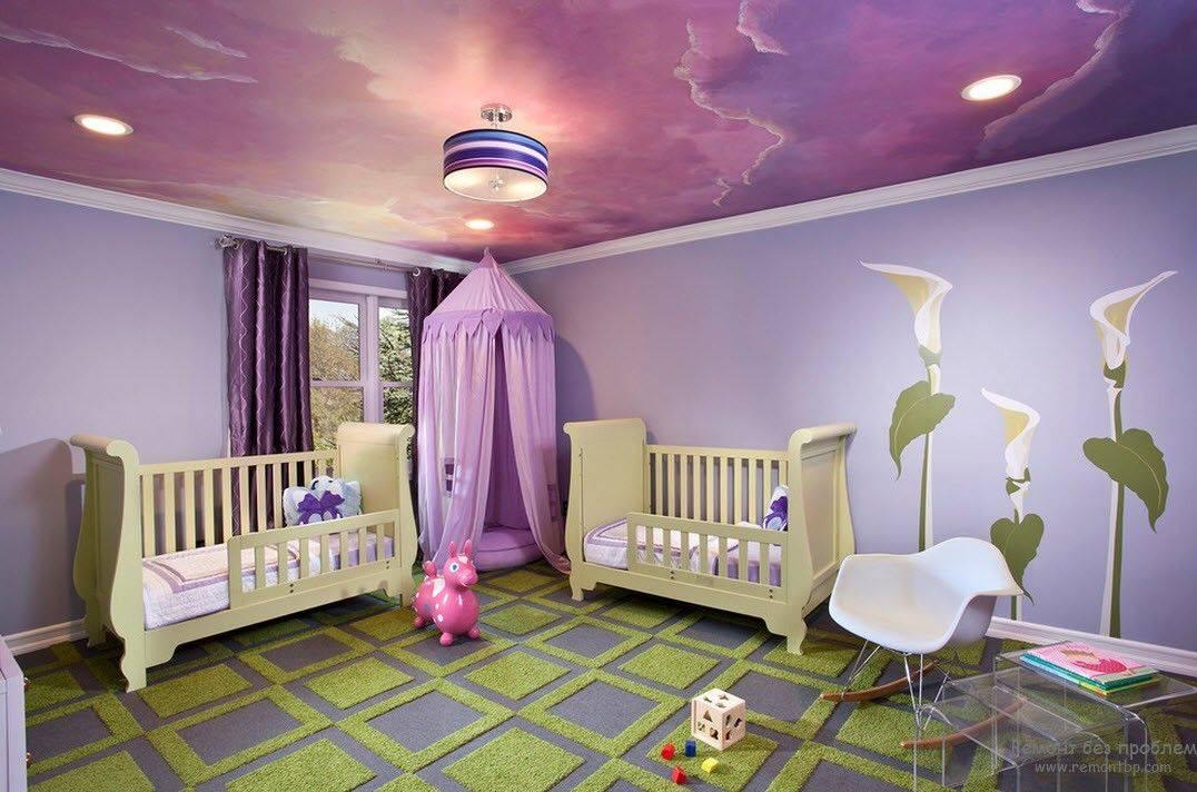 Какие натяжные потолки в детской комнате лучше сделать, примеры на фото и видео