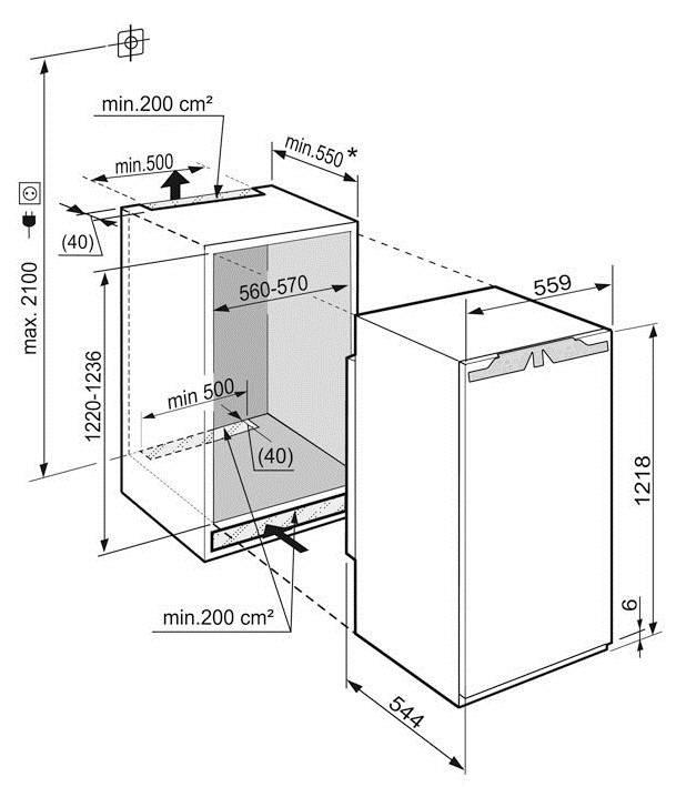Встроенный холодильник — стандартные и маленькие размеры (15 фото)