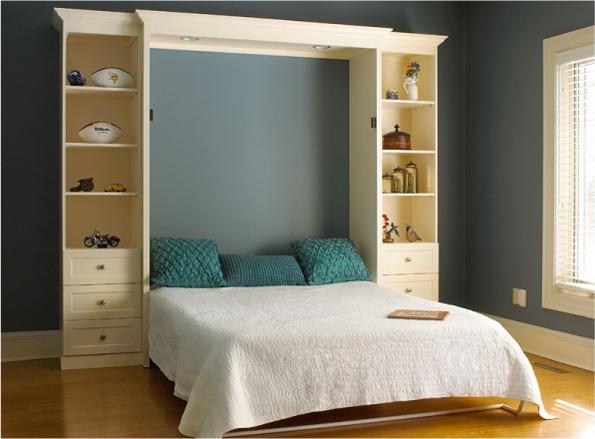Кровати-трансформеры икеа, фото встроенных в шкаф моделей
