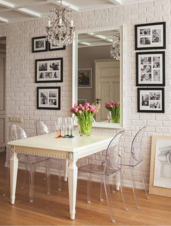 Зеркало на кухне на стене, фартуке, над столом по фен-шуй, фото в интерьере