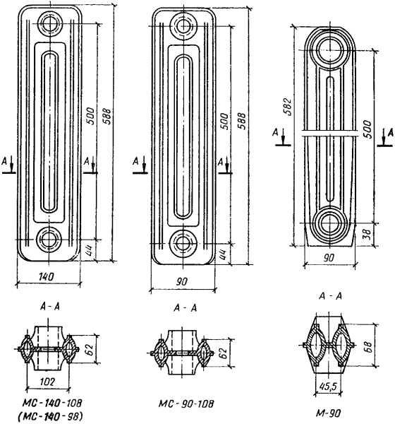 Вес 1 секции чугунного радиатора мс-140 классического образца и нестандартные модели – в чем разница