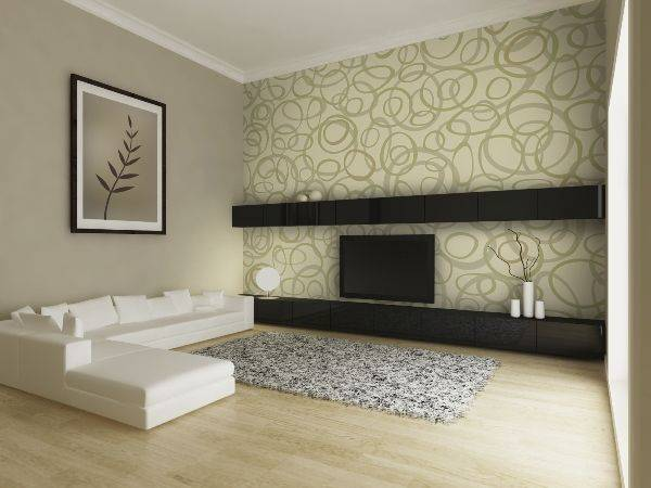 Как красиво поклеить обои в зале двух цветов: фото интерьеров, возможности комбинирования