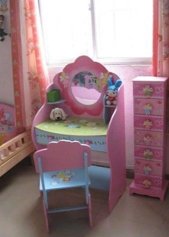 Детские трюмо с зеркалом для девочек (22 фото): туалетный столик для подростка со стульчиком