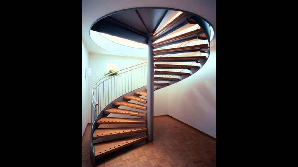 Красивые винтовые лестницы на второй этаж в интерьере квартиры или дома, бетонные, металлические и стеклянные оригинальные модели, поручни и перила