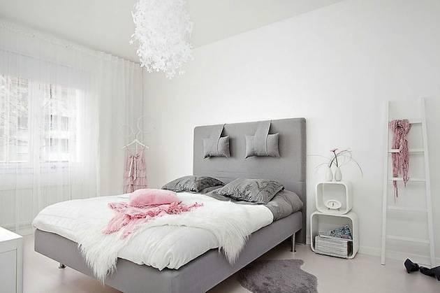 Интерьер спальни в скандинавском стиле, фото