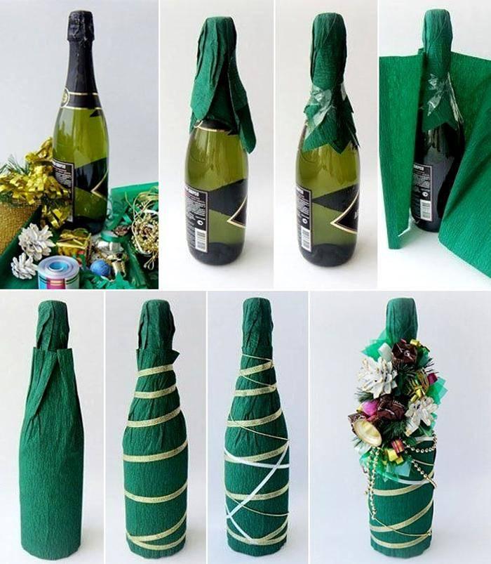 Декупаж бутылок на новый год своими руками (170+ фото) пошагово