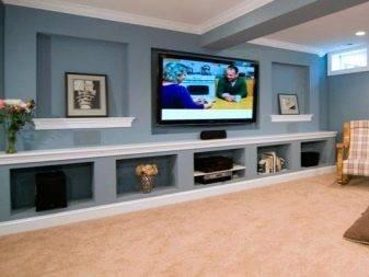 Ниша под телевизор (42 фото): как сделать нишу в стене из ламината своими руками? размеры ниши из гипсокартона с подсветкой
