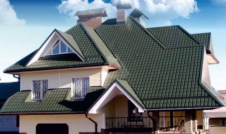 Серая металлочерепица: крыши частных домов на фото