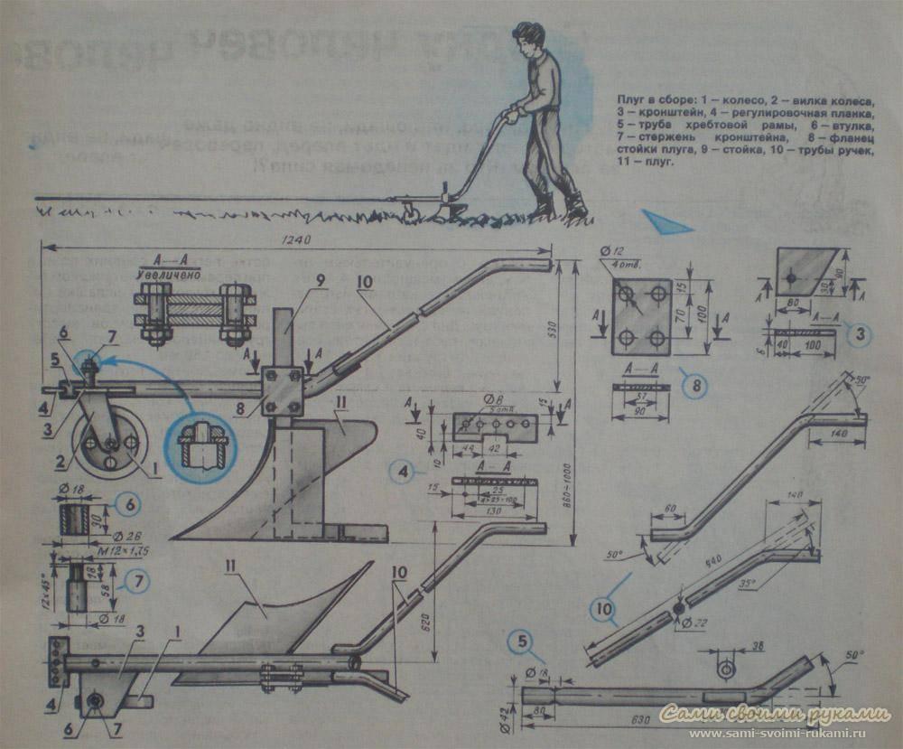 Плуг для минитрактора своими руками - чертежи, видео и сравнение цены