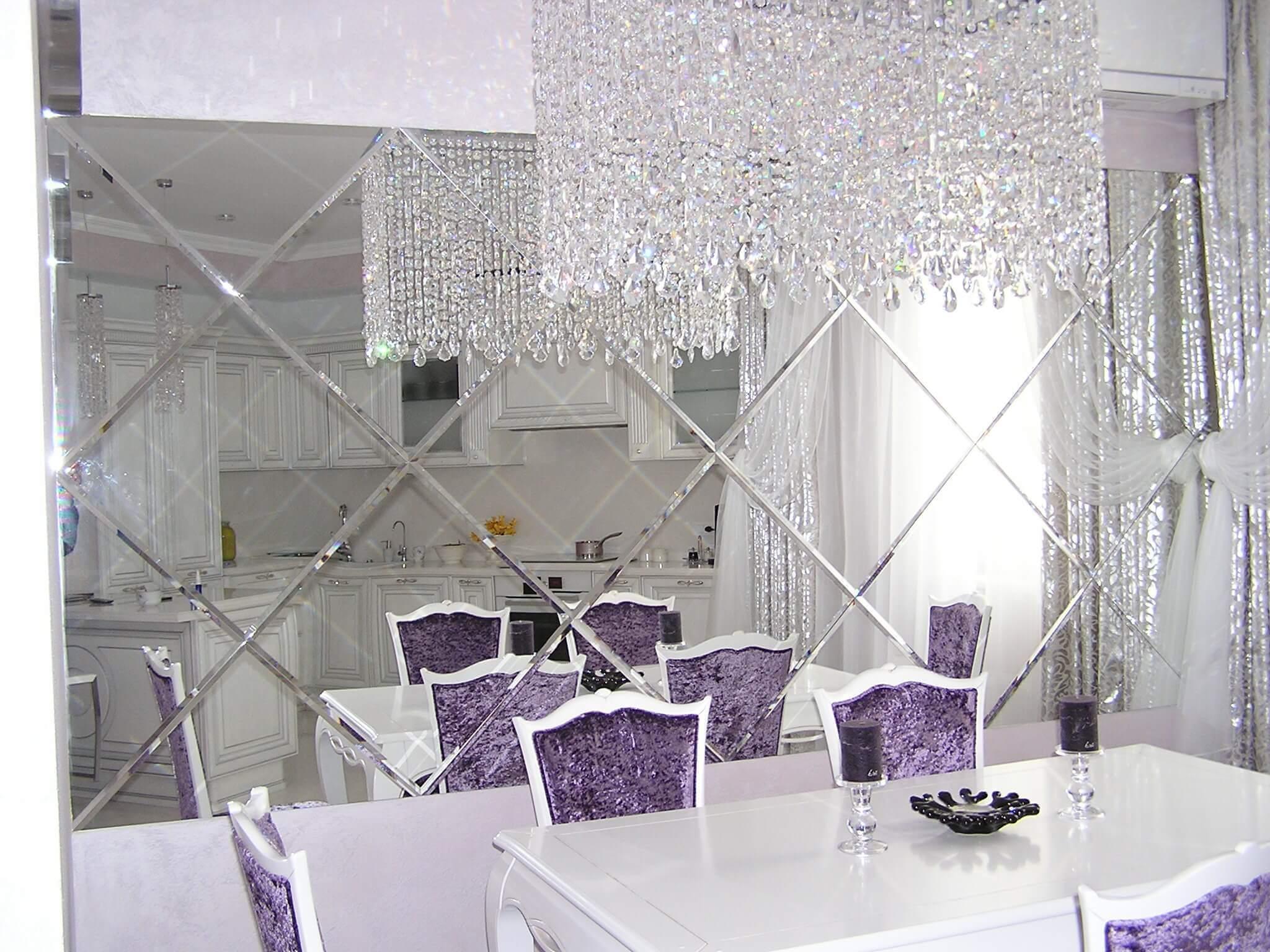 Применение зеркальной плитки в дизайне интерьера (15 фото + видео)