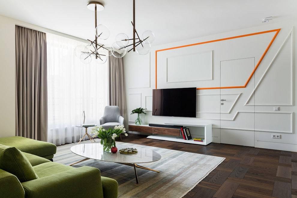 Дизайн и оформление стены с телевизором в гостиной
