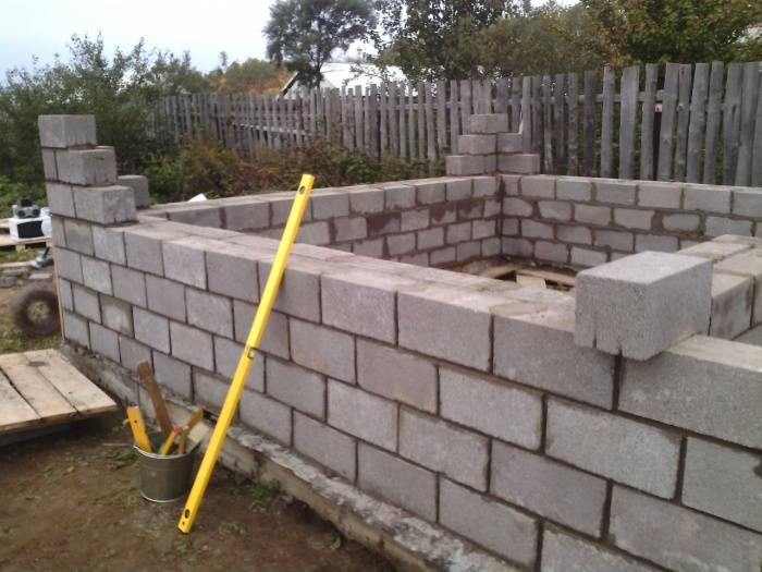Гараж из шлакоблоков — нюансы организации и ведения строительных работ