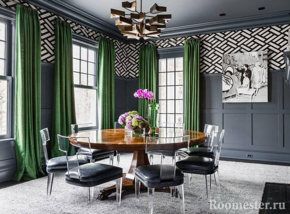 Зеленые шторы в интерьере: оттенки цвета, подбор