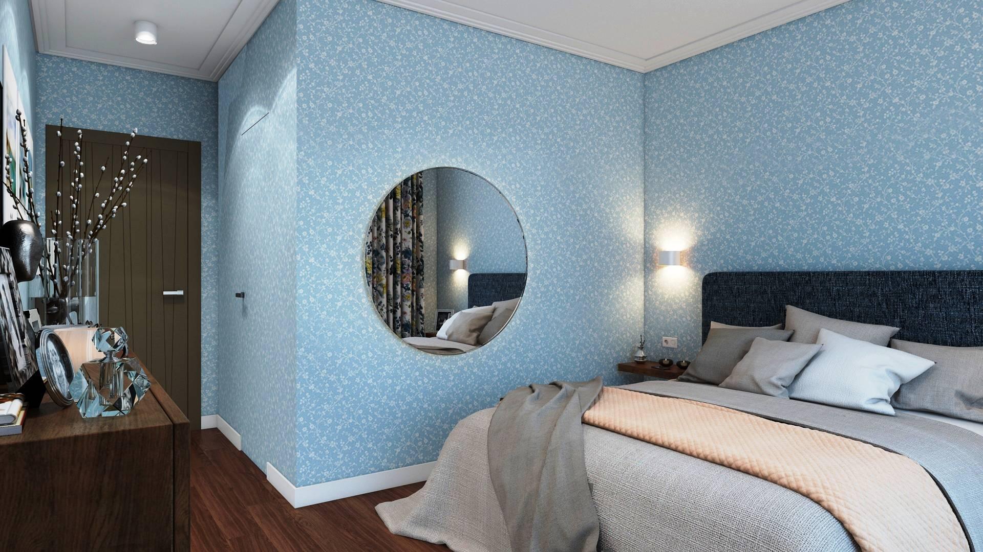 Какие шторы подойдут к голубым обоям в спальне?