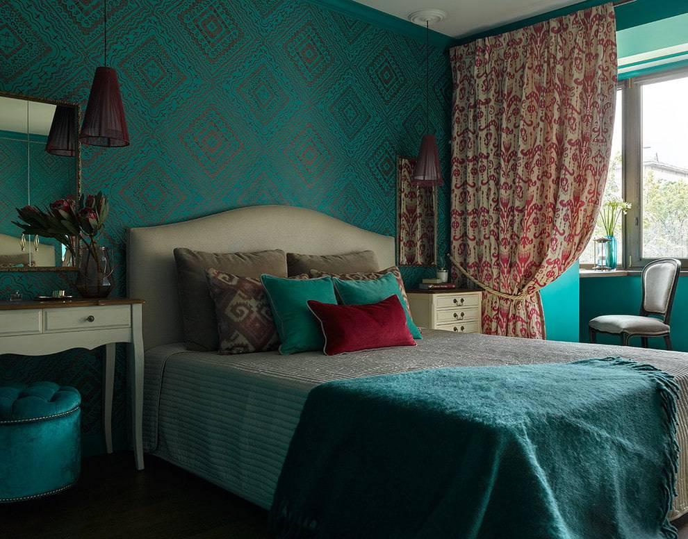 Бирюзовая спальня - 67 фото примеров