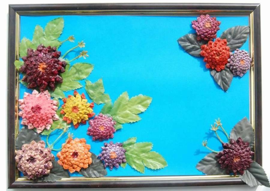 Как сделать картину своими руками из подручных материалов, из искусственных цветов. 85 фото примеров