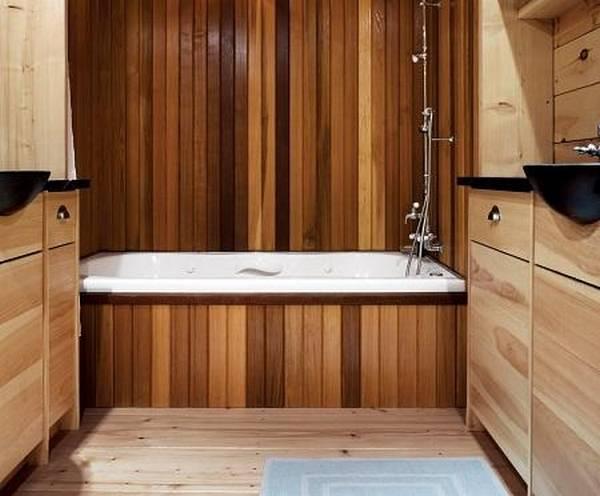 Дизайн ванной под дерево (20 фото)