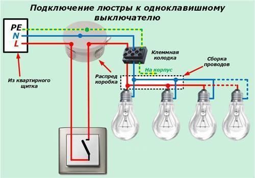 Как подключить люстру с 3 проводами к выключателю