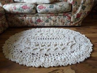 Ковер из шнура, вязаный крючком (36 фото): великолепный коврик овальной формы в стиле шебби-шик из полиэфирного материала