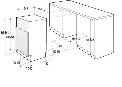 Стандартные габариты встраиваемой посудомоечной машины