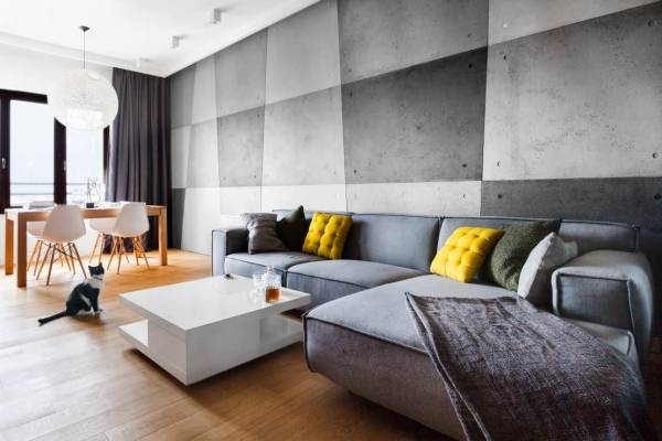 Интерьер гостиной в серых тонах (68 фото): серые стены с белыми обоями, сочетание с коричневым, бирюзовым и другими цветами