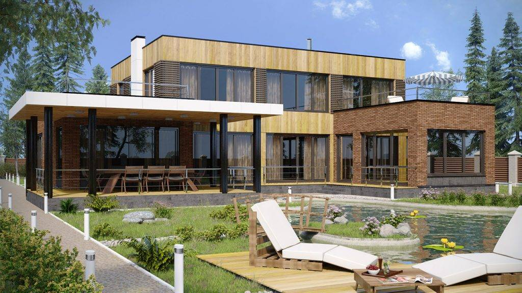 Дома с плоской крышей - лучшие идеи современных проектов (70 фото)