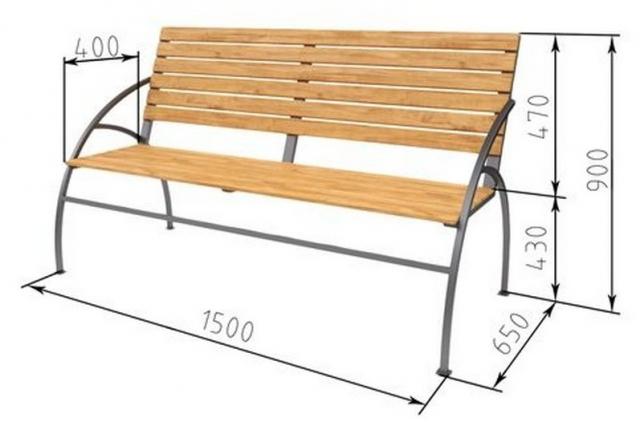 Скамейка из профильной трубы — чертежи с размерами и фото интересных вариантов