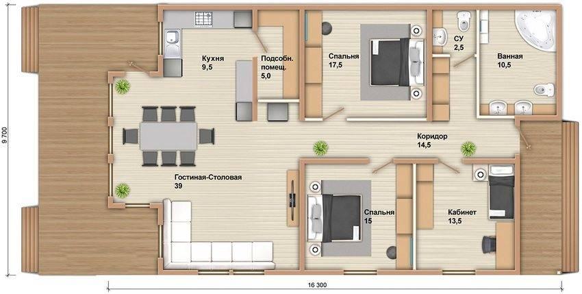 Дома из бруса с террасой: особенности планировки и строительства