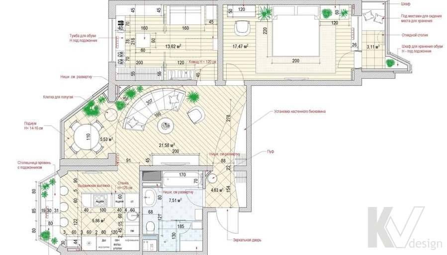 Идеи дизайна однокомнатной квартиры серии п44т (+фото)