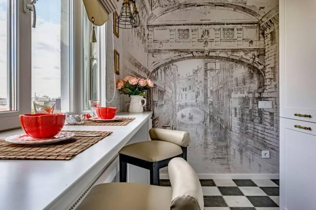 Фотообои, расширяющие пространство: на кухню, для коридора