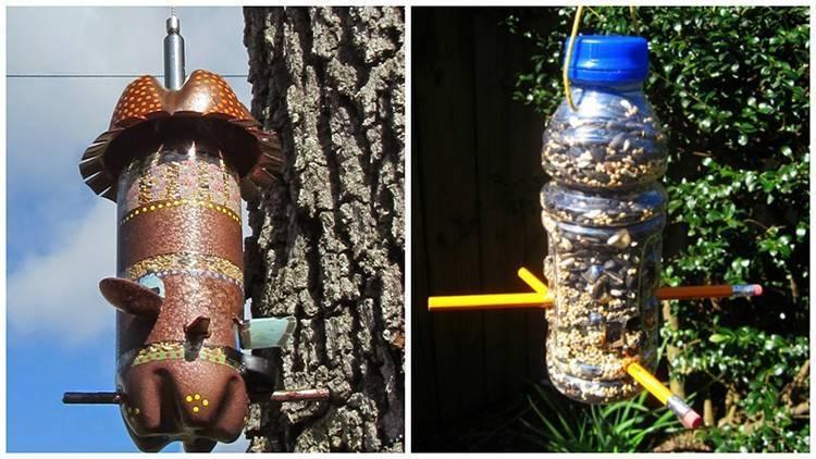 Как сделать кормушку для птиц из пластиковой бутылки: идеи