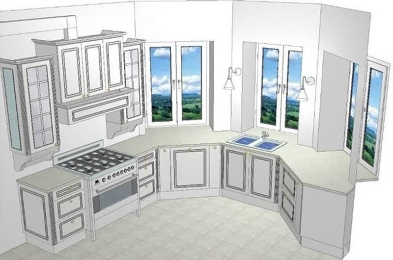 Кухня с эркером: 50 реальных фото интерьеров, идеи дизайна в домах п-44т