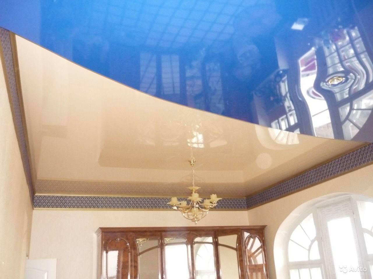 Двухцветные натяжные потолки: идеи сочетания оттенков (100+ фото)