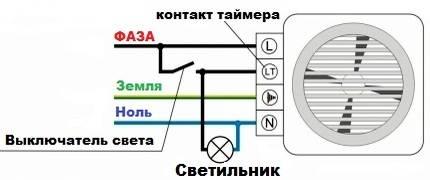 Как подключить вентилятор в ванной к выключателю света и отдельно от света